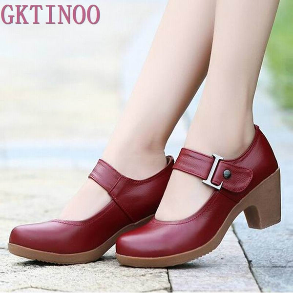 Woman 100% Genuine Leather Women Pumps Lady Leather Round Toe Platform