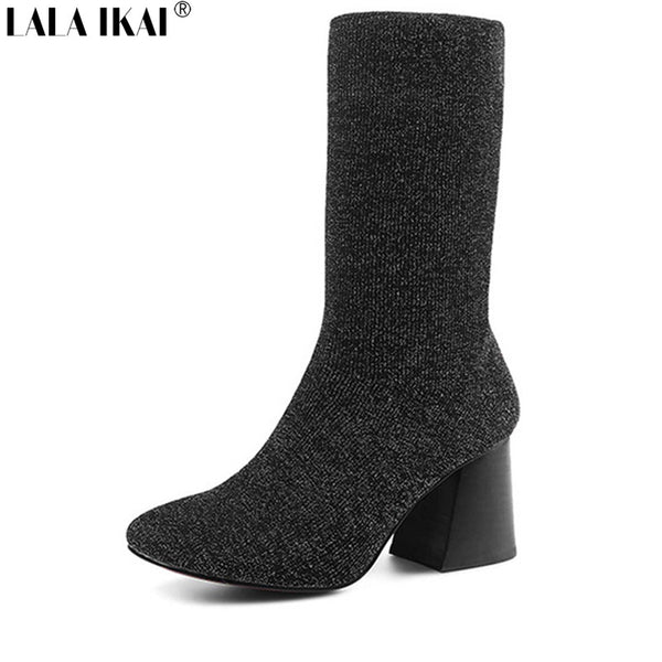 Shiny Sock Women Ankle Boots 2017 Stretch Fabric