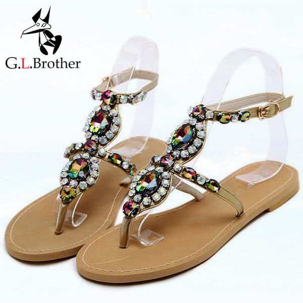 Rhinestone Sandals Women Summer Beach Flip Flops Shoes Woman