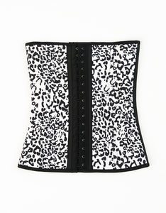 White leopard print traditional waist trainer