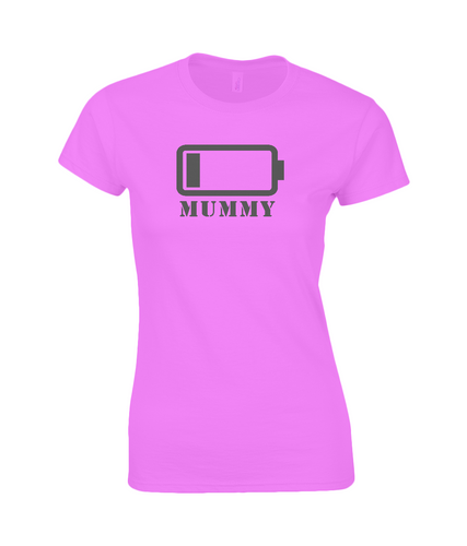 Mummy's Low Battery Fitted Ringspun T-Shirt