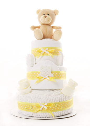Yellow 3 Tier Baby Bundle Nappy Cake
