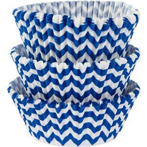 Royal Blue Chevron Cupcake Cases - 5cm