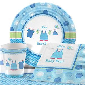 Shower With Love Boy Baby Shower Party Pack - Value Pack for 8