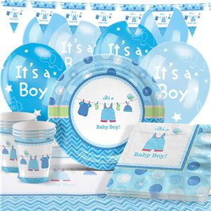 Shower With Love Boy Baby Shower Party Pack - Deluxe Pack for 8