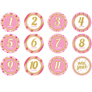 Pink & Gold Glitter Monthly Milestone Stickers