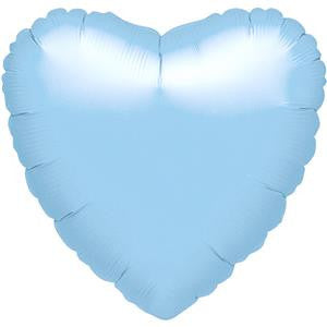 Metallic Pearl Pastel Blue Heart Balloon - 18'' Foil - unpackaged