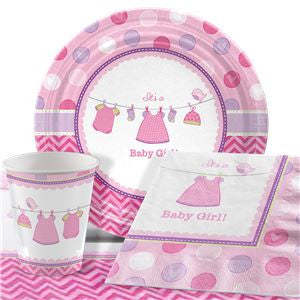 Shower With Love Girl Baby Shower Party Pack - Value Pack for 8