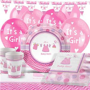 Shower With Love Girl Baby Shower Party Pack - Deluxe Pack for 16