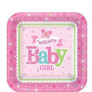 Welcome Baby Girl Dessert Plates - 18cm Paper Party Plates