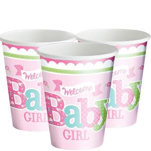 Welcome Baby Girl Cups - 266ml Paper Party Cups