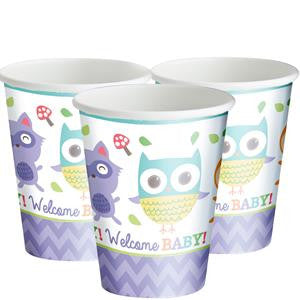 Woodland Baby Cups - 266ml Paper Party Cups