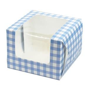 Blue Gingham Individual Cupcake Box