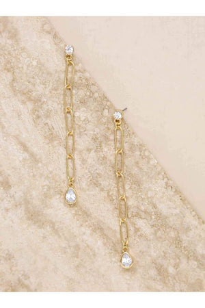 Chain Link Crystal 18k Gold Plated Dangle Earrings - Earrings - Ettika - The TLB Boutique