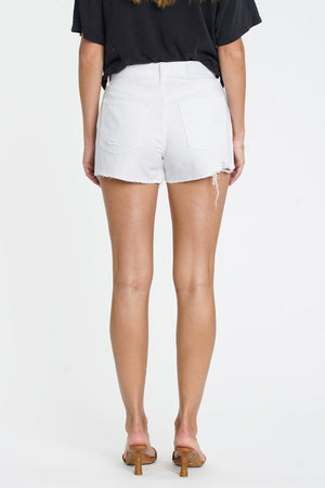 Nova High Rise Relaxed Cuff Short - White LighteningDenim Shorts