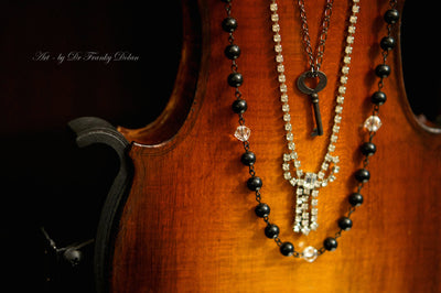 """Rhinestone Bow Multi-Strand Necklace"" by Dr Franky Dolan"
