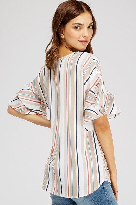 Wherever I Go Vertical Stipe Linen Round Neck Tunic with Half Ruffle Sleeve Detail
