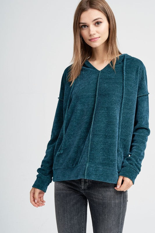 Love Zone Long Sleeve Solid Chenille Hoodie with Exposed Seams, Hunter Green