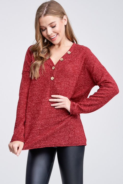 Seven Wonders Long Sleeve Solid Knit Sweater with V Neck and Button Trim, Red