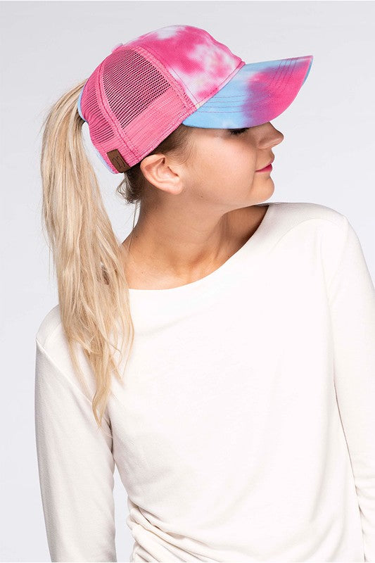 CC Exclusive Messy Bun Baseball Cap with Velcro Closure, Tie Dye