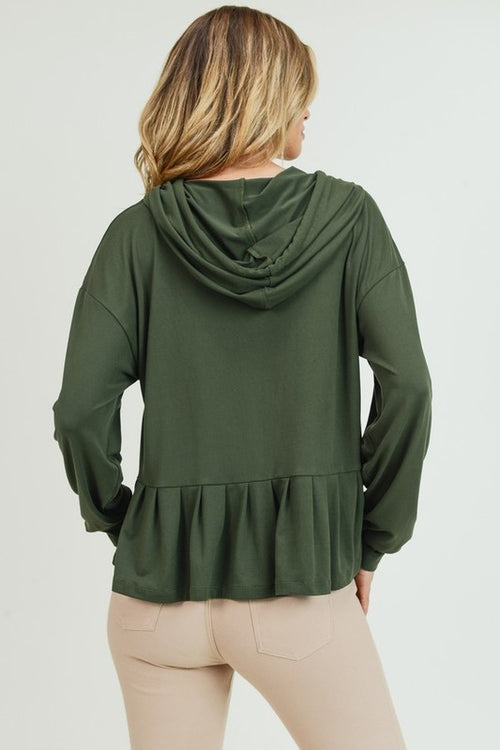 Wassup Long Sleeve Hoodie with Ruffled Hem, Olive