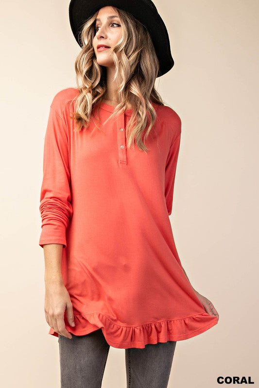 Love Story Button Coral Down Top with Bottom Ruffle