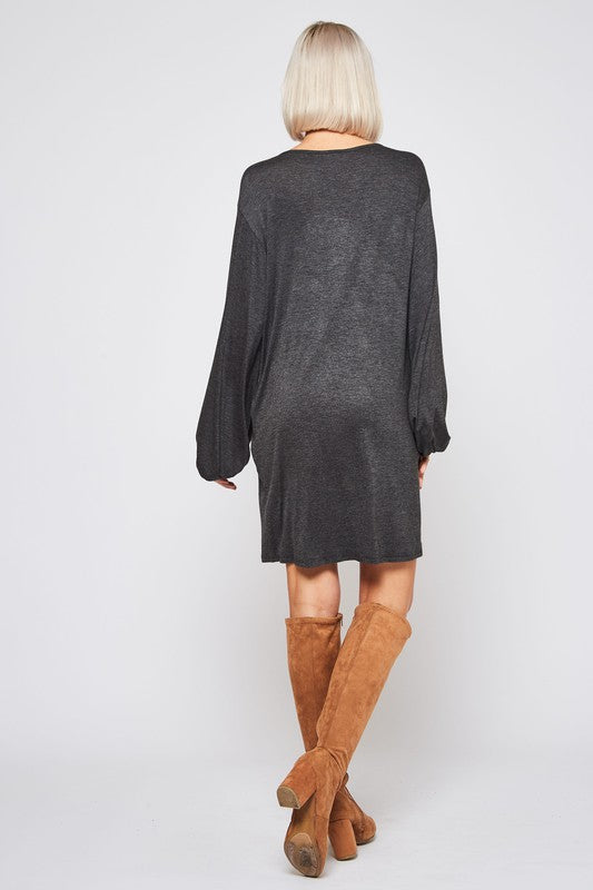 Go Flex Shift Dress with Balloon Sleeves, Charcoal