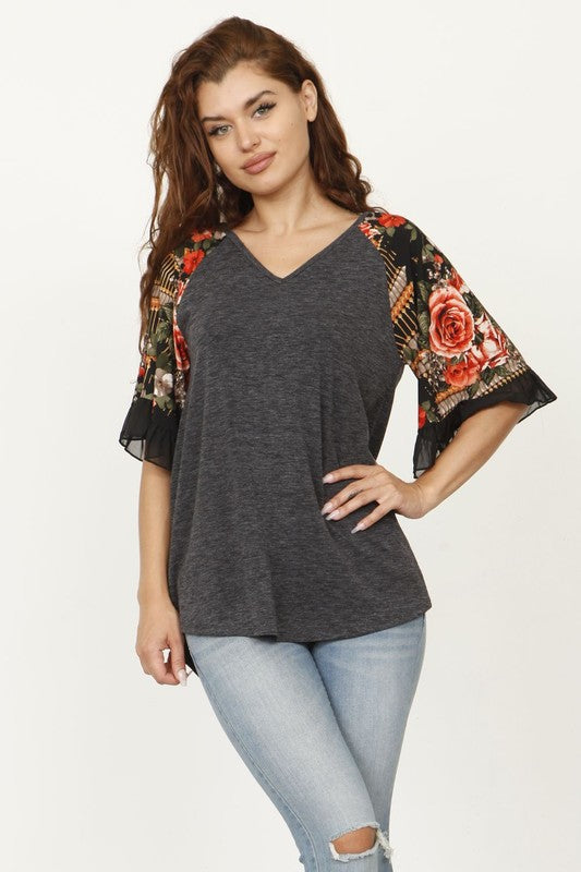 Youngblood Floral Chiffon Flutter 1/2 Sleeve Top, Charcoal