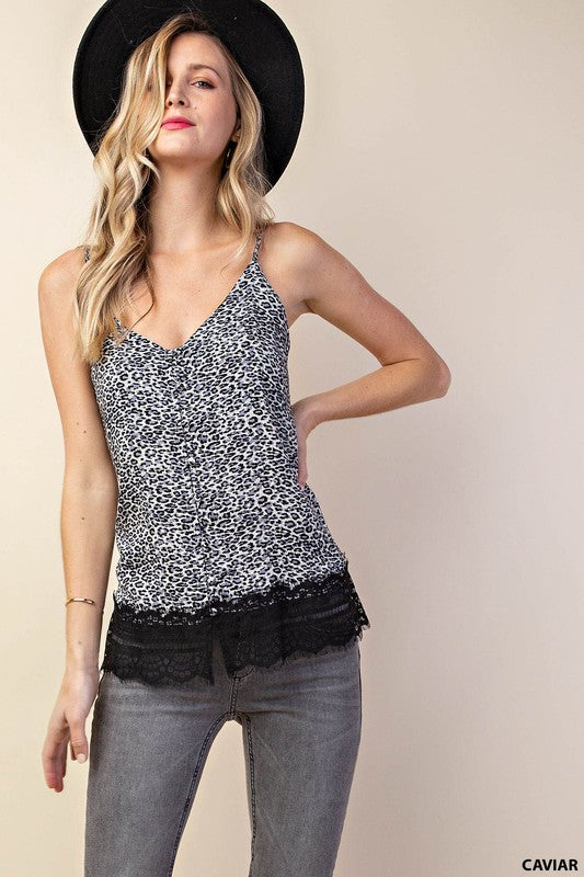 Nobody Else Animal Print V-Neck Camisole Top with Button Detail Front, Lace Trim & Adjustable Straps, black