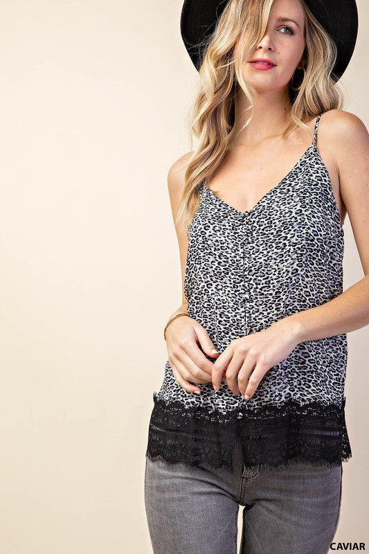 The Heart Won't Lie  Animal Print V-Neck Camisole Top with Button Detail Front, Lace Trim & Adjustable Straps, black