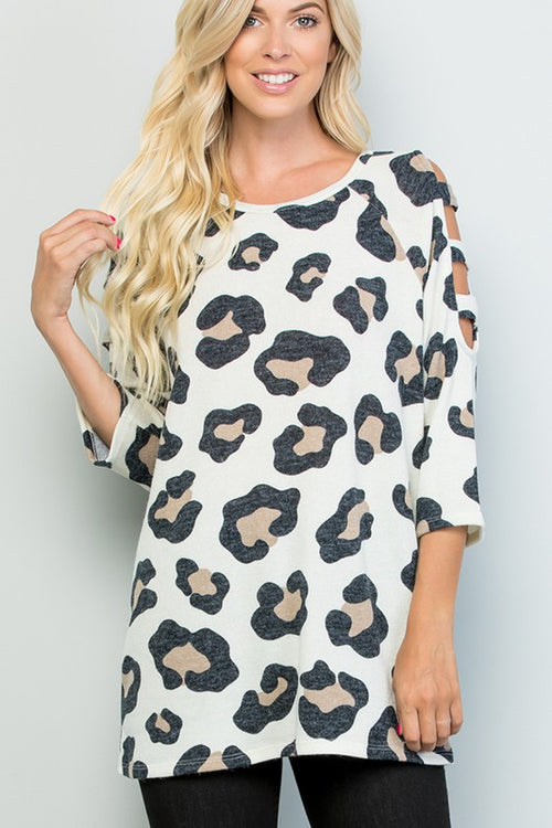 Hold My Hand 3/4 Length Sleeve Round Neck, Ladder Cut Out Print Top, Cream