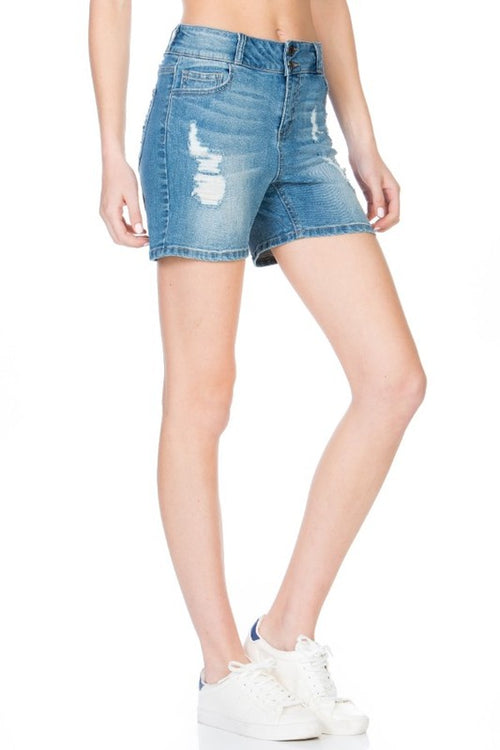 One More Time Distressed Shorts by Cello, light blue