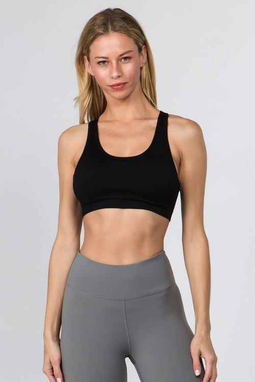 Pull Over Style - Macrame Cut Out Sports Bra, Black S-L