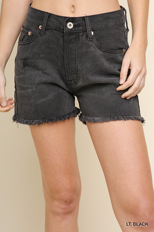 Counting Stars Light Black Cutoff Shorts