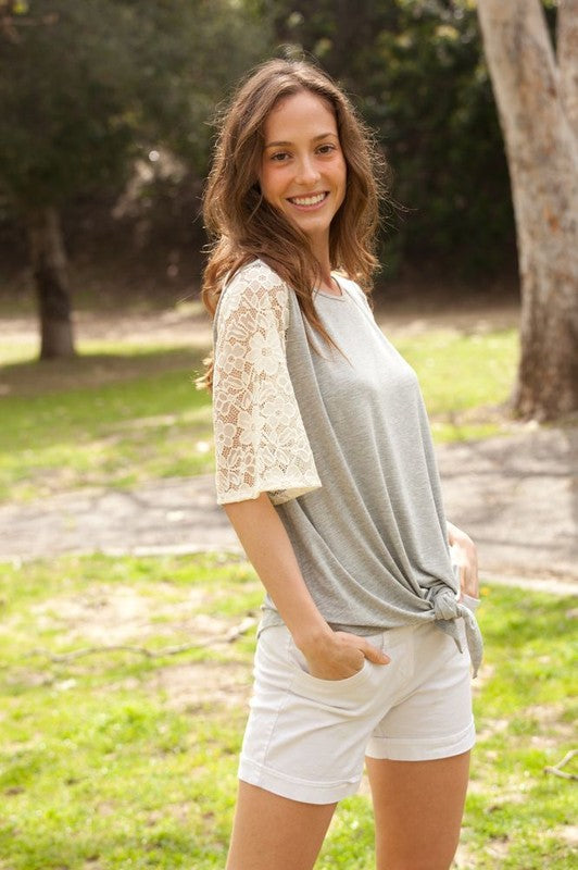 Short Sleeve Gray Front Knot Tunic with Cream Colored Crochet Sleeves, S-XL