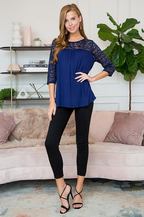 All At Once Lace Top with 3/4 sleeves, Navy