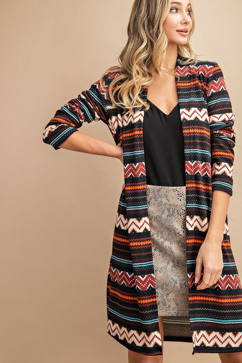 Midnight Train Aztec Print Open Front Cardigan - SHIPS 12/10