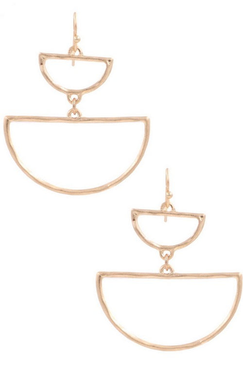 Let It Go Half Circle Metal Drop Earrings, Matte Gold