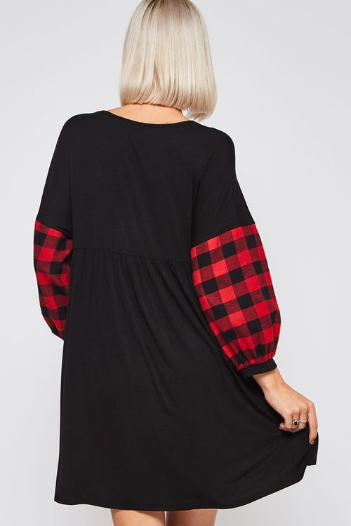 Candy Paint Checker Flannel Sweater Dress with V Neck & Checkers Flannel Balloon Contrast Sleeve, Black