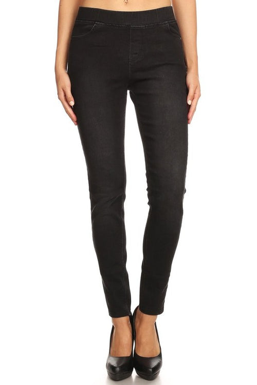Simply The Best Dark Black Wash Jeggings, Black Denim