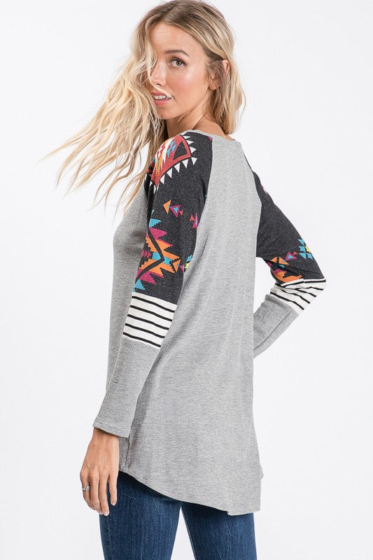 Outlaw Long Sleeve Top with Southwest / Aztec / Stripe Pattern Shoulder Detail