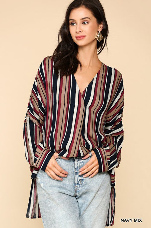 Feel Again Navy Mix Multi Striped Printed Oversized V-Neck Tunic Top with Side Slits