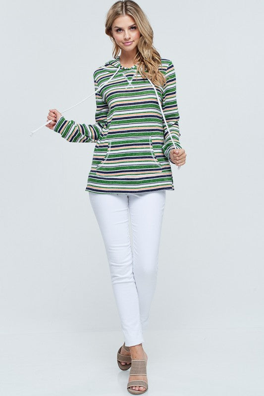 Begin Again Striped Knit Hoodie with Front Pocket, Green