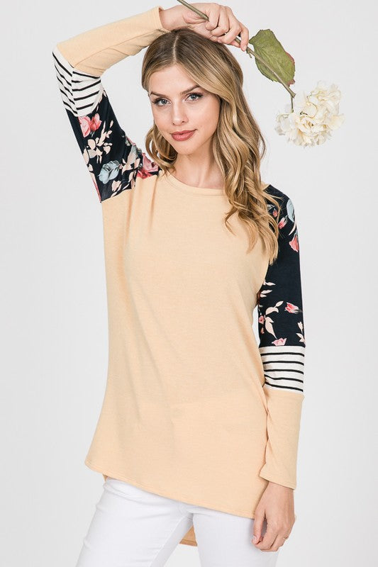 I'll Be Waitin' Color Block Long Sleeve Top, Muted Yellow and Navy floral