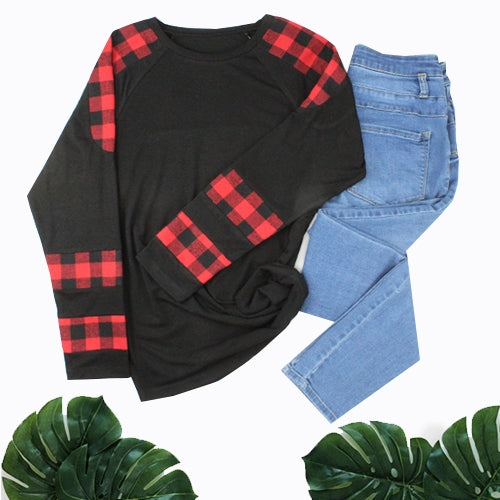 Buffalo Plaid Long Sleeve Crew Top, Black, S-2XL