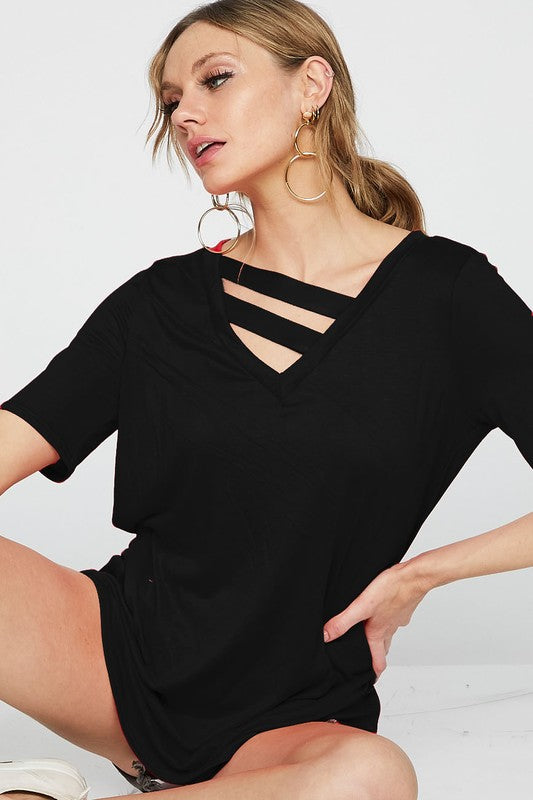 Get Your Shine On V-Neck Knit Jersey Top With Double Strap Neck Detail, Black
