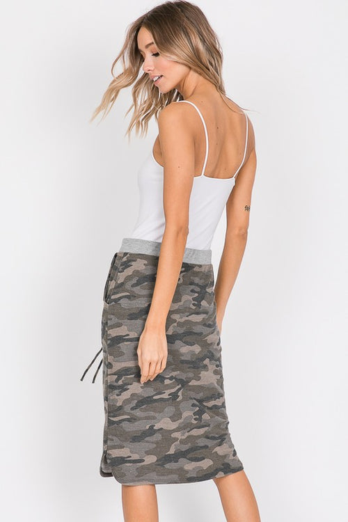 Downtown Girl Camo Print Skirt with Banded Waist & Pockets, Olive (S-XL)