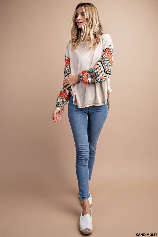 What's Your Name Multi Design Sleeve Rayon/ Spandex Top, Sand