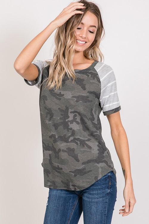 One Track Mind Camo & Stripes Top S-XL