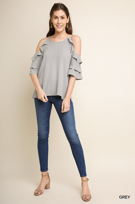 Tell Me Why Layered Ruffle Sleeve Open Shoulder Top with Side Slits and Contrast Ruffle Stitching
